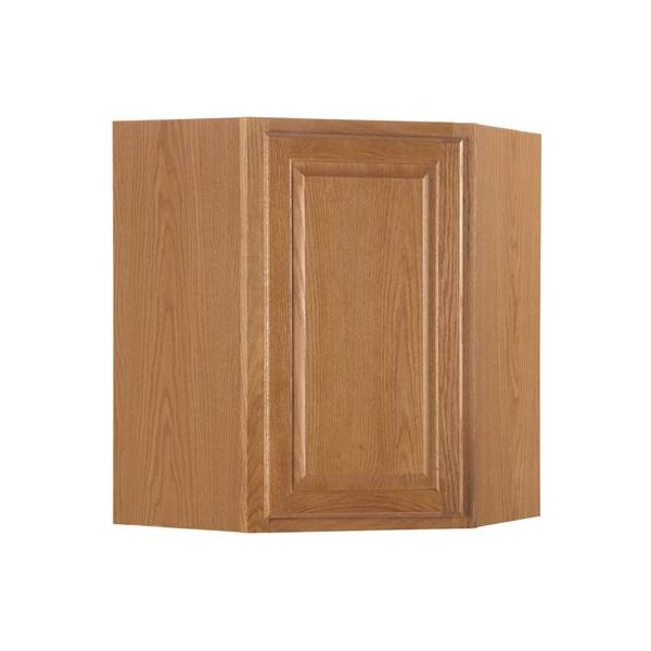 Beau Rsi Home Products Hamilton Corner Wall Cabinet, Fully Assembled, Raised  Panel, Oak,