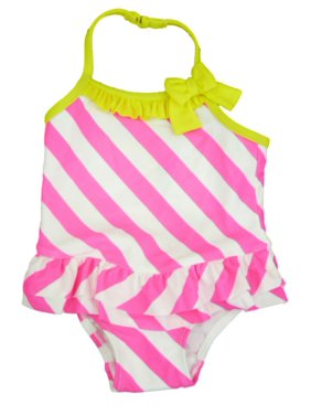 Joe Boxer Infant & Toddler Girls Pink & White Stripe Swimming Suit Swim 1 PC