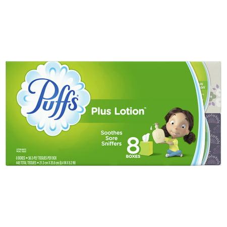 Epithelial Tissue - Puffs Plus Lotion Facial Tissue, 8 Cubes, 56 Tissues per Box (448 Tissues Total)