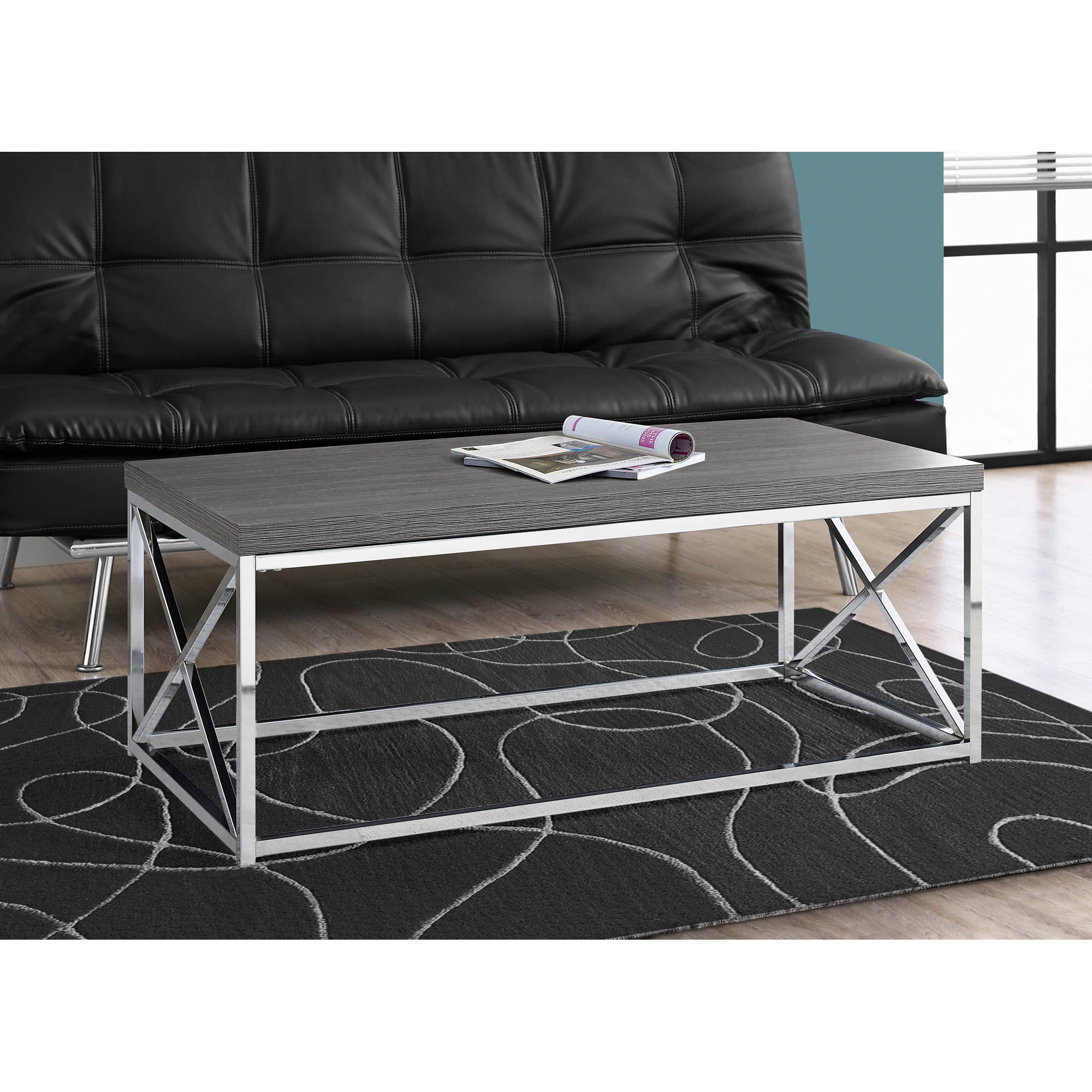 Monarch Coffee Table Glossy White With Chrome Metal Walmart