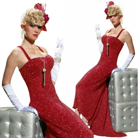 Forum 20s 40s Retro Film Noir Costume Evening Gown Red Dress - Film Inspired Halloween Costumes