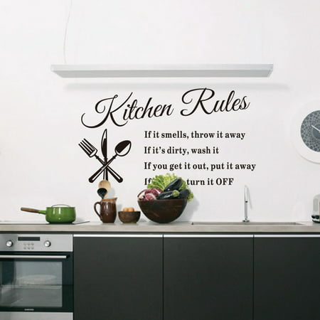 - Removable Kitchen Rules Words Wall Stickers Art Decal Mural Home Decoration 60x33 cm