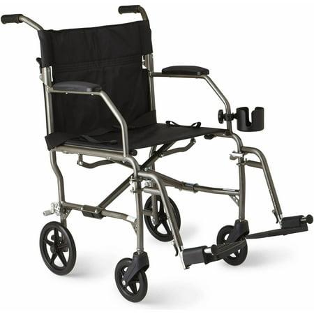 Medline Ultralight Transport Chair, Silver