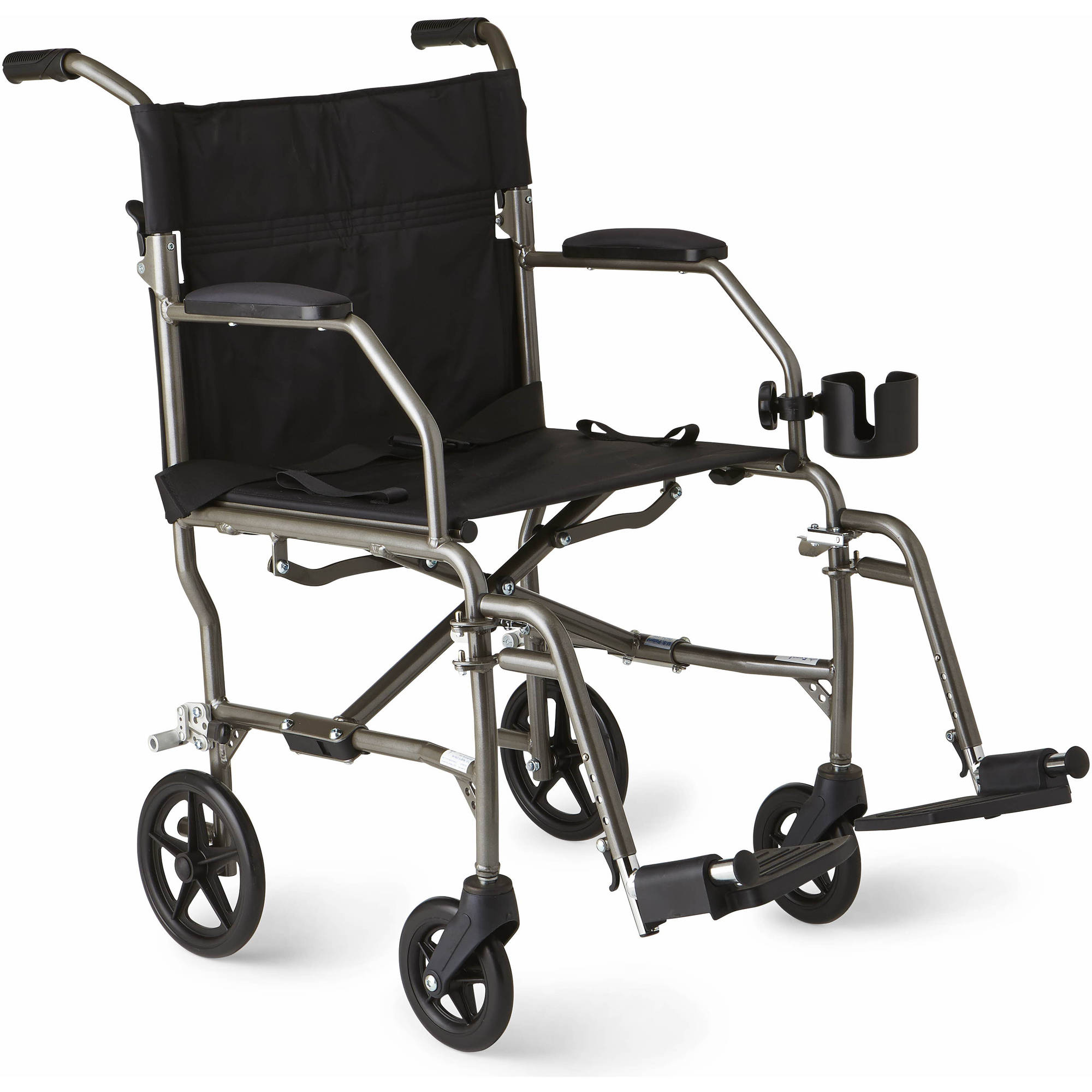 Medline Ultralight Transport Chair, Silver