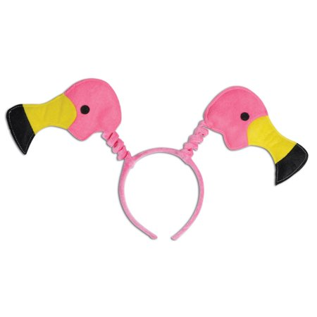Club Pack of 12 Tropical Pink Flamingo Headband Bopper Party Favor Costume Accessories