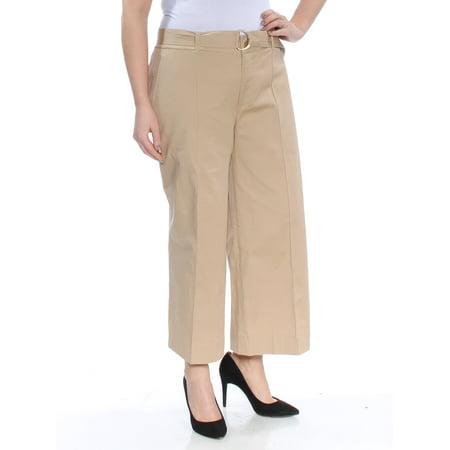Lauren Ralph Lauren Tan Twill Cropped Wide-Leg Belted Pants 12