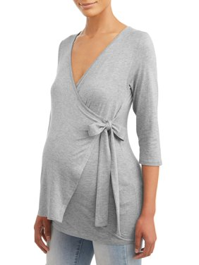 Maternity Solid 3/4 Sleeve Wrap Knit Top