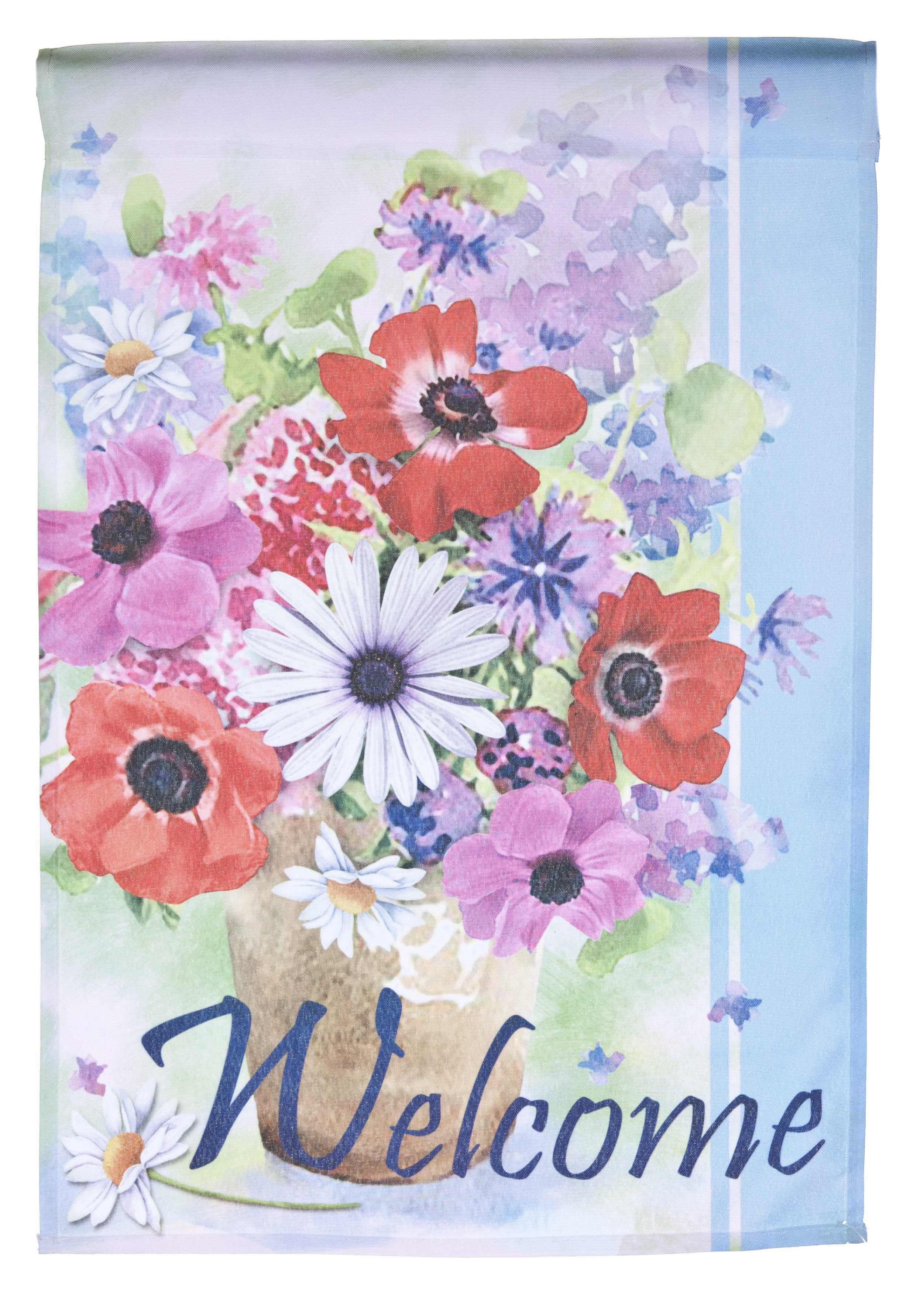 Flower Bouquet Welcome Lawn Flag by Garden Accents (12 x 18 Inch) by