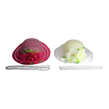 Girls Tea Party Dress Up Play Set For Two With Sun Hats and Plastic Pearl Necklaces - Hot Pink and Ivory