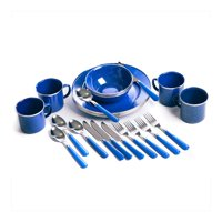 Stansport 24-Piece Enamel Camping Tableware Set (Blue)