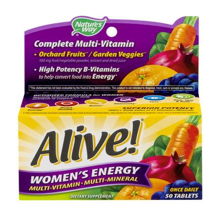Nature's Way: Vivant! Comprimés d'énergie des femmes Supplément multivitamines /, 50 Ct