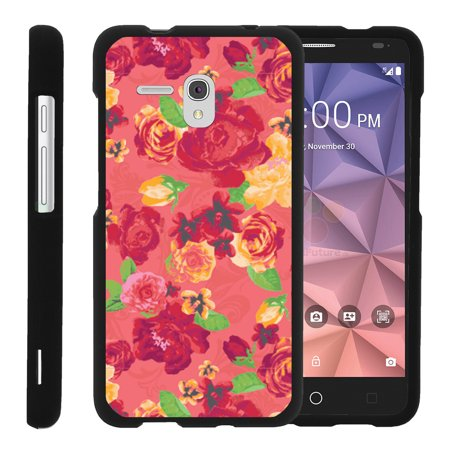 Alcatel One Touch Fierce XL 5054N, [SNAP SHELL][Matte Black] 2 Piece Snap On Rubberized Hard Plastic Cell Phone Case with Exclusive Art - Fruity Rose Pattern ()