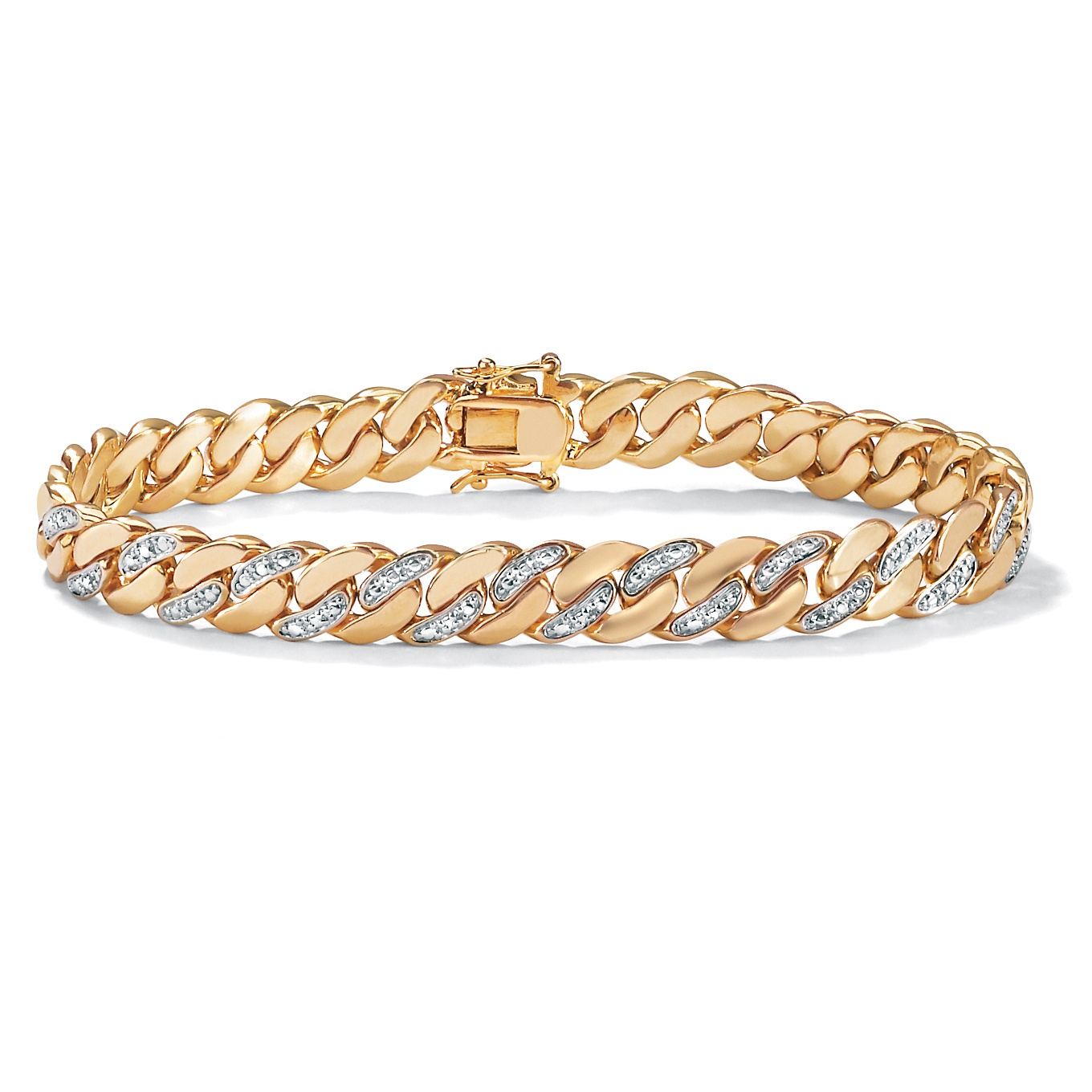 "Men's Diamond Accent Curb-Link Bracelet 18k Yellow Gold-Plated 9.5"" (9mm) by PalmBeach Jewelry"
