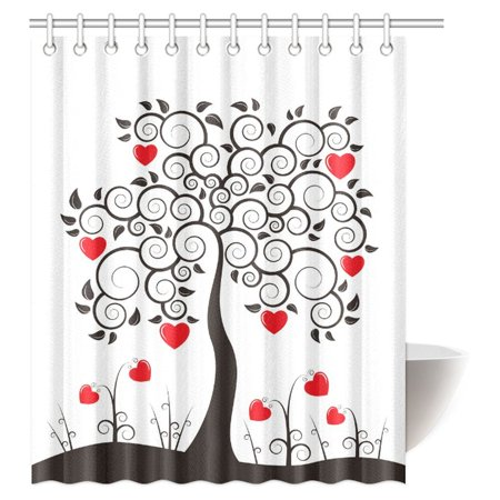 MYPOP Love Decor Shower Curtain Abstract Heart Tree Floral Leaves Spring Swirl Simplicity Creative Fabric Bathroom 60 X 72 Inches