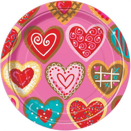 """7"""" Sweet Valentine Paper Dessert Plates, 8ct"""