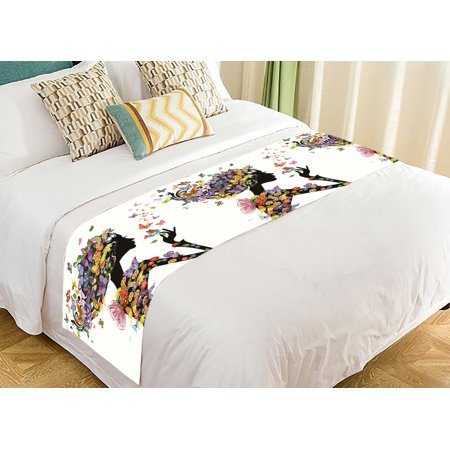 GCKG Colorful Flower Girl Bed Runner, Floral Butterflies Bed Runners Scarves Bed Decoration 20x95