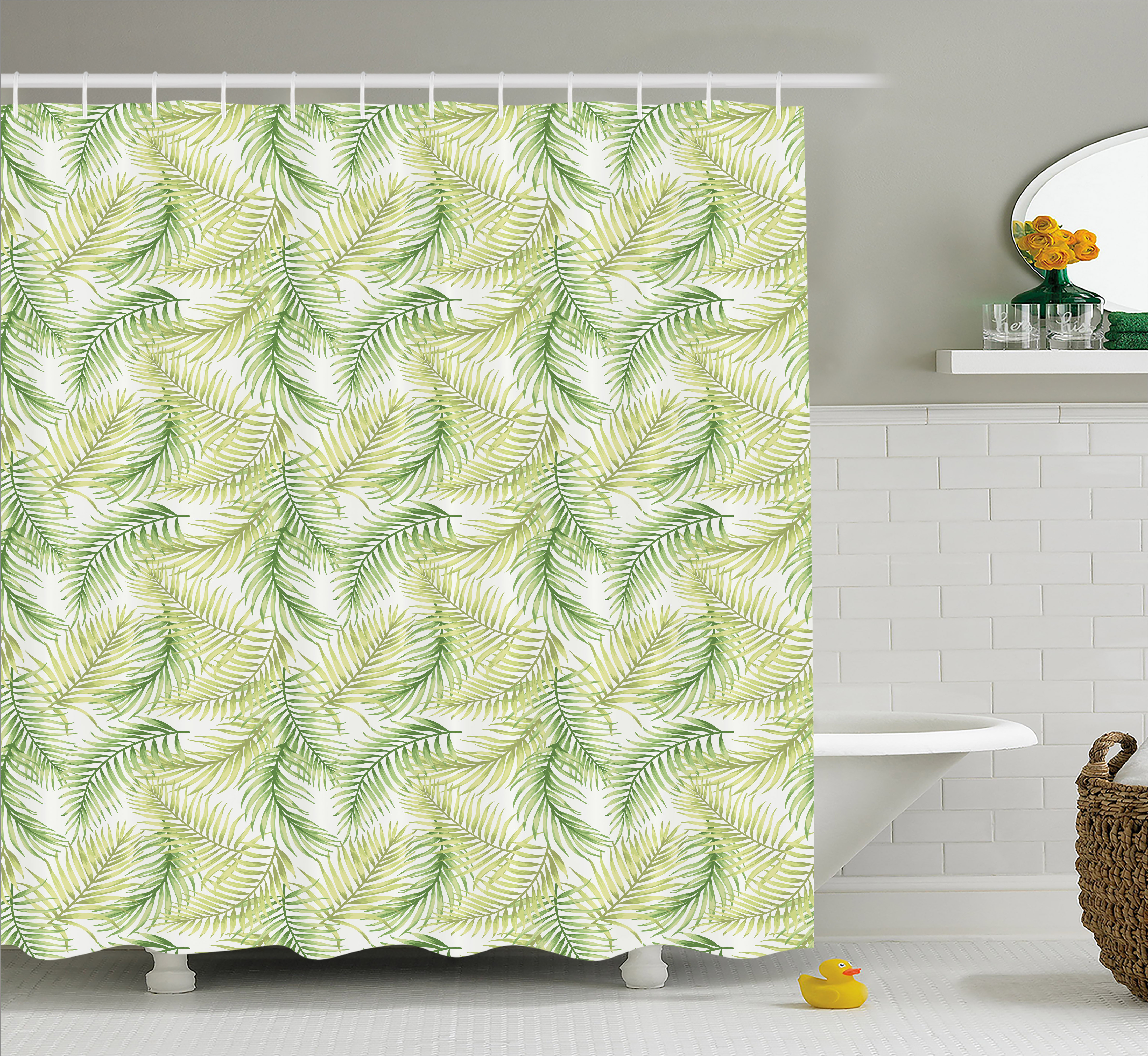 Palm Leaf Shower Curtain Green Leaves Of Coconut Palms Watercolor Style Fresh Nature Pattern Fabric Bathroom Set With Hooks 69W X 84L Inches Extra Long