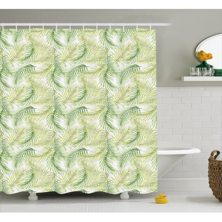 Palm Leaf Shower Curtain Green Leaves Of Coconut Palms Watercolor Style Fresh Nature Pattern