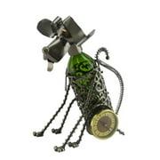 Three Star WineBodies Sitting Dog Clock Metal Wine Bottle Holder