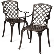 Topbuy 2 PCS Cast Aluminum Dining Chair Arm Seat Outdoor Patio Bistro Chair Solid