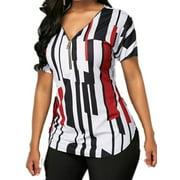 Women's Plus Size Short Sleeve T Shirts Zip Up V Neck Tops Slim Fit Blouse