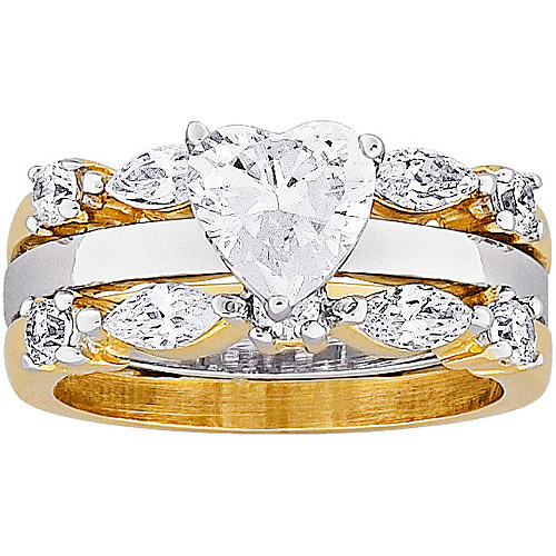 3.48 Carat T.G.W. Heart CZ 14kt Gold-Plated Bridal Set