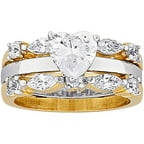 3.48 Carat T.G.W. Heart CZ 14kt Gold-Plated Bridal Set