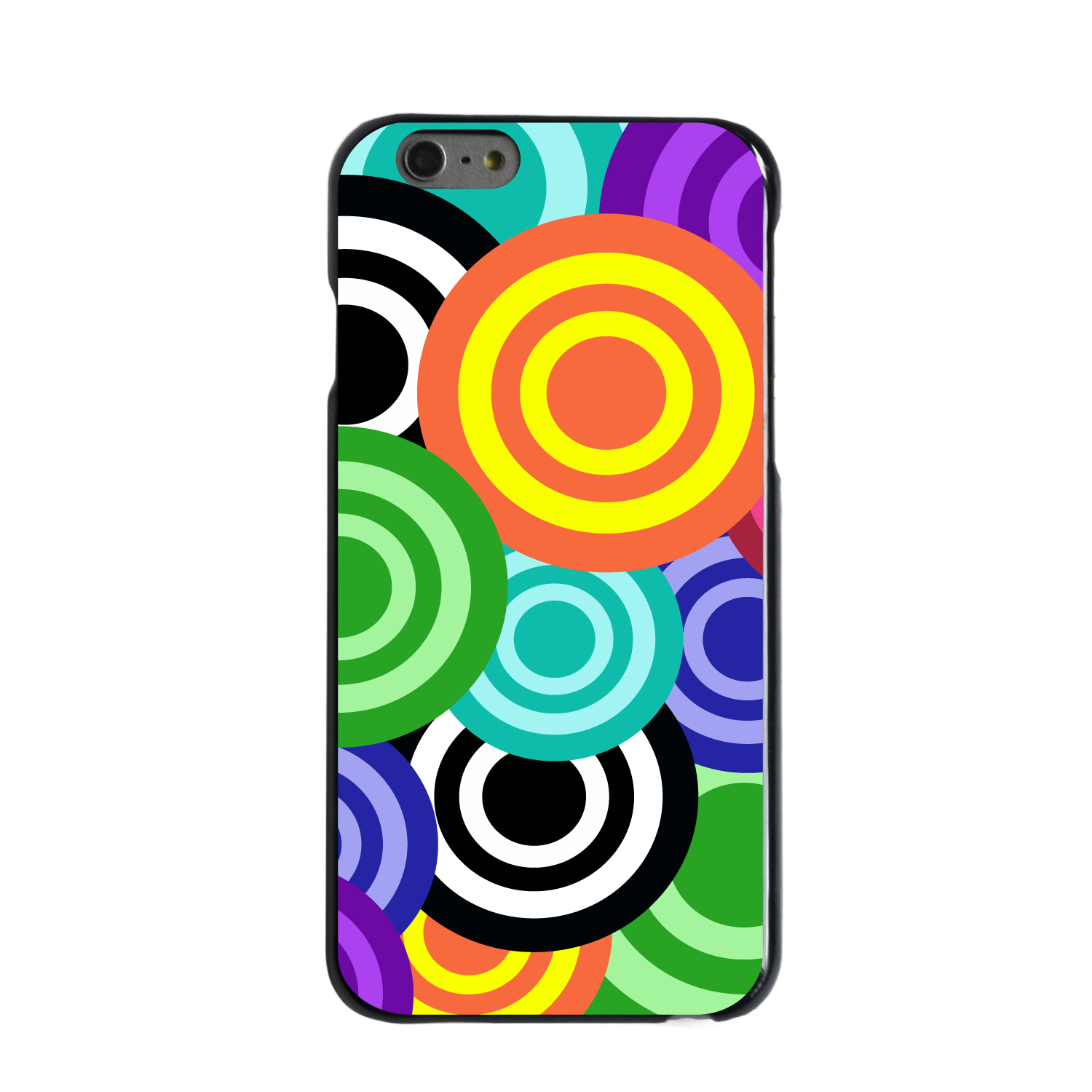"CUSTOM Black Hard Plastic Snap-On Case for Apple iPhone 6 PLUS / 6S PLUS (5.5"" Screen) - Multi Color Swirls"