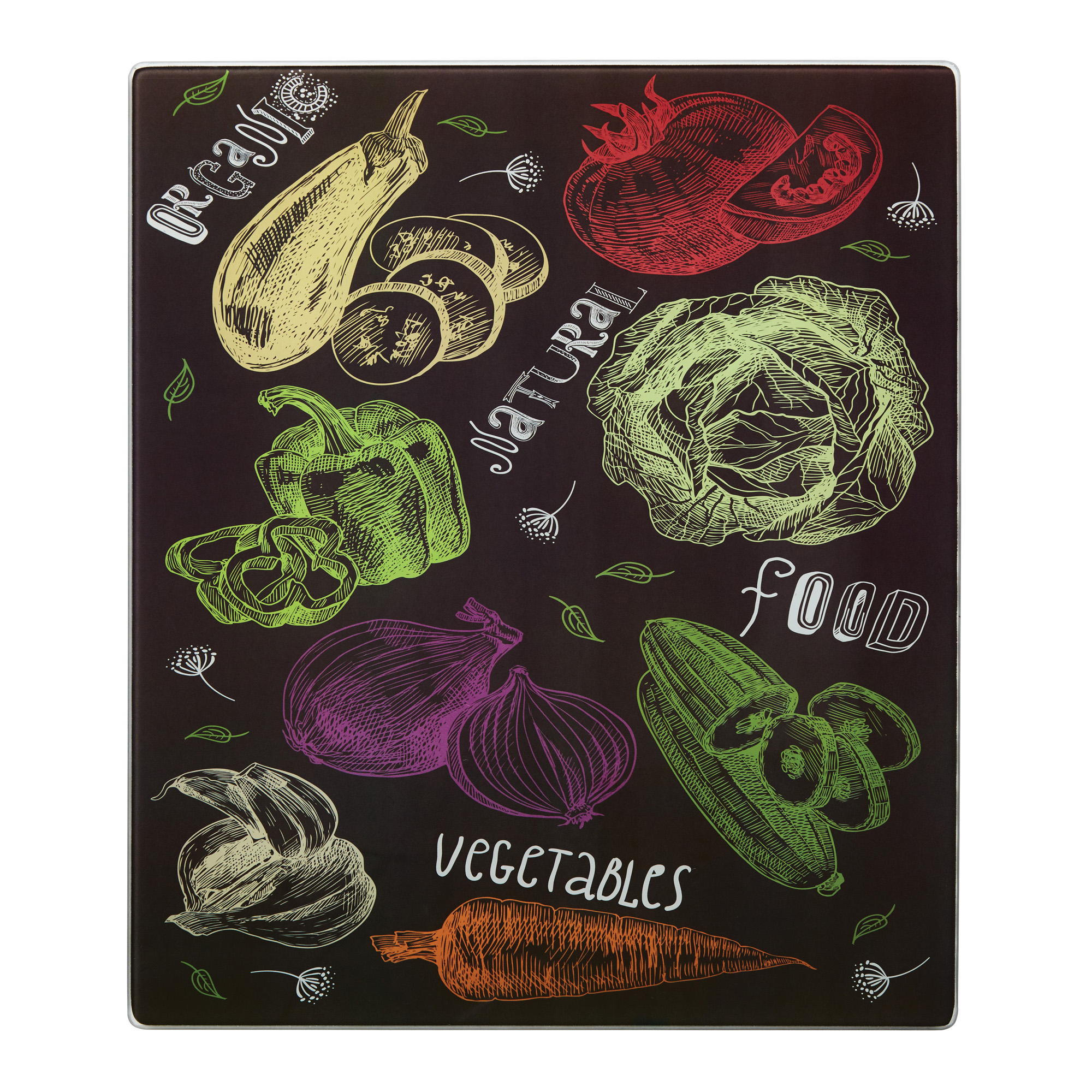 Farberware 12 Inch By 14 inch Nonslip Glass Cutting Board, Veggies