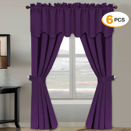 H.VERSAILTEX Blackout Curtains Sets (6 pcs), Thermal Insulated Antique  Grommet Window Treatment for Bedroom, Plum Purple (2 Panels of 52\