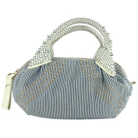 Pinstripe Spy 5fz1019 Blue Canvas Hobo Bag