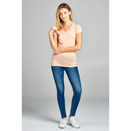 Junior & Women Basic Short Sleeve Wide Band V-Neck Tee Shirt Top ()