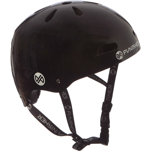 Punisher Skateboards Premium Youth 13-vent Metallic Flake Black Dual Safety Certified BMX Bike and Skateboard Helmet, Size Medium