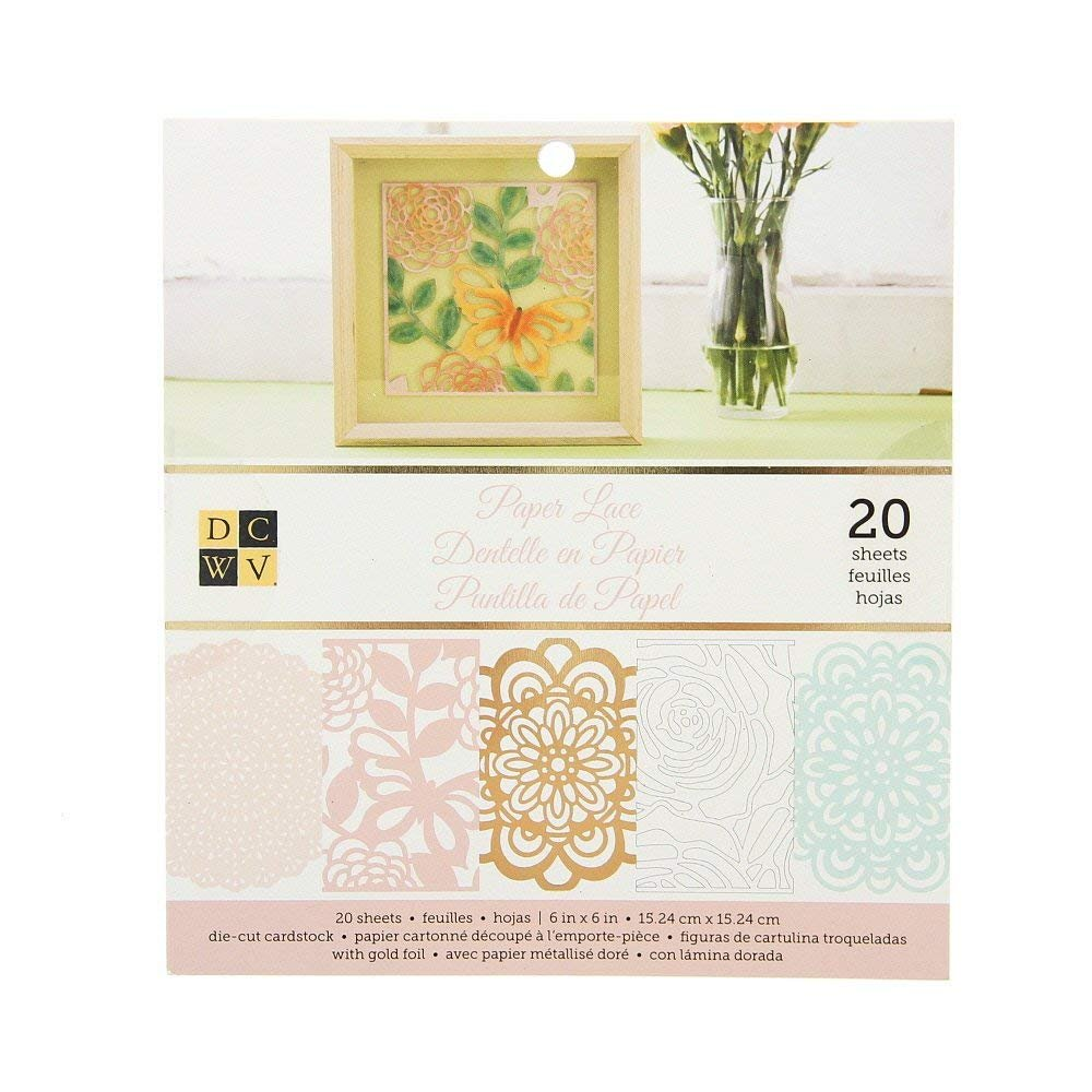 """American Crafts DCWV 6"""" x 6"""" Paper Lace Cardstock Stack - 4 Assorted Designs, Scrapbooking Essential - 20 Sheets"""