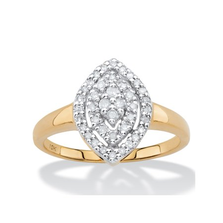 1/4 TCW White Diamond Pave-Style Marquise-Shaped Cluster Ring in Solid 10k Yellow Gold ()