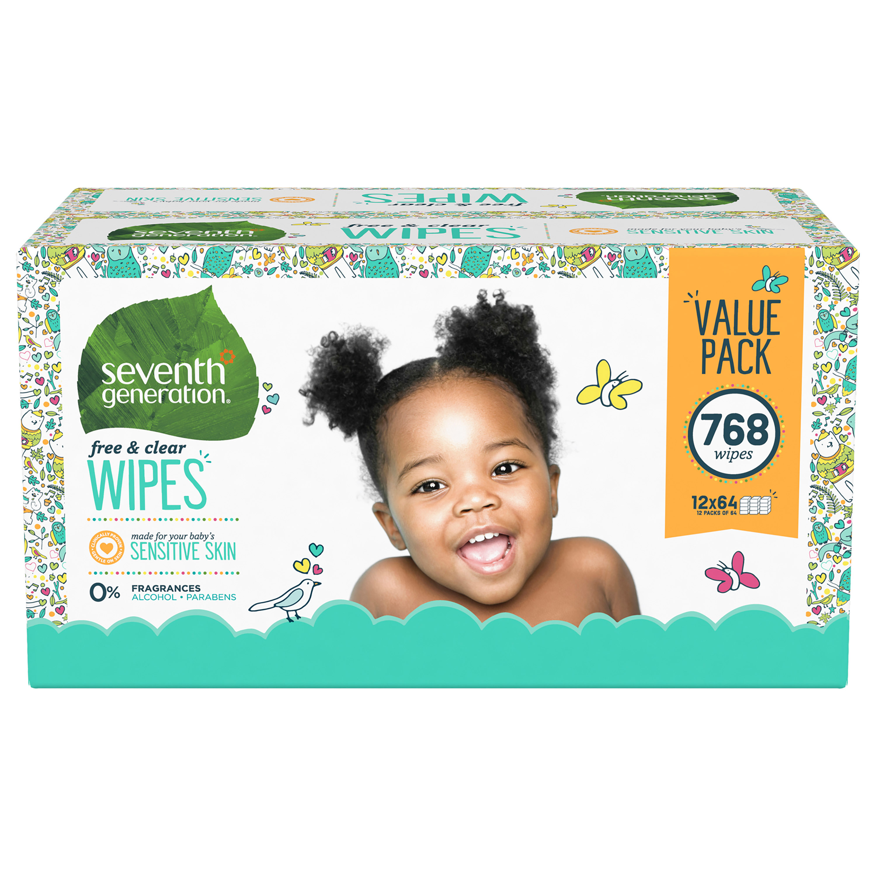 Seventh Generation Sensitive Baby Wipes with Flip-Top Dispenser, Free & Clear, 768 count