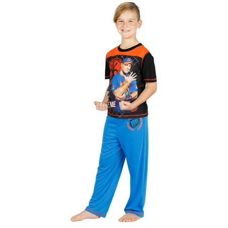 WWE Boys Pajama Jonh Cena Wrestling Kids Sleepwear with Pajama Pants and Shorts Set, Short Sleeve, Size: 6-7 Years