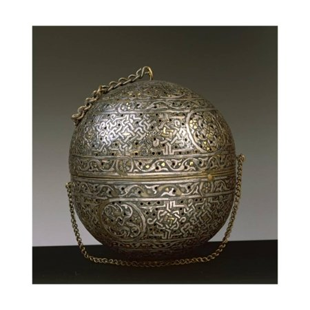 Spherical Engraved Brass Incense Burner with Openwork and Inlaid with Gold and Silver Print Wall Art