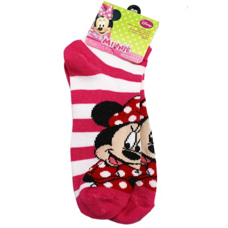 Pink And White Minnie Mouse (Disney's Minnie Mouse Hot Pink and White Striped Kids Socks (1 Pair, Size)