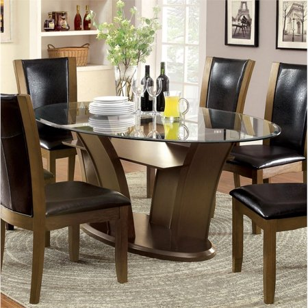- Furniture of America Waverly Oval Dining Table in Brown Cherry