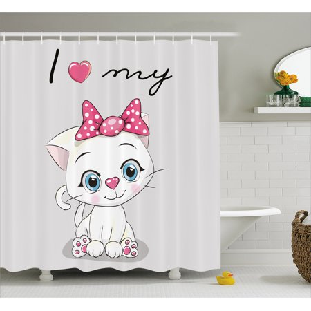 Kitten Shower Curtain Cute Cartoon Domestic White Cat Pink Cheeks Fluffy I Love My Pet