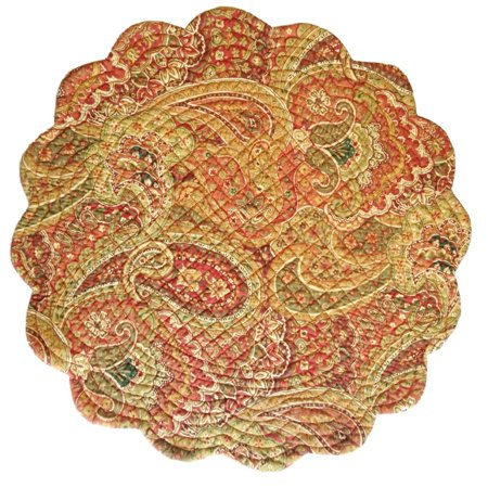Beautiful Reversible Round Placemat with Quilted Detailing - Tangiers, 17 Round By CFF