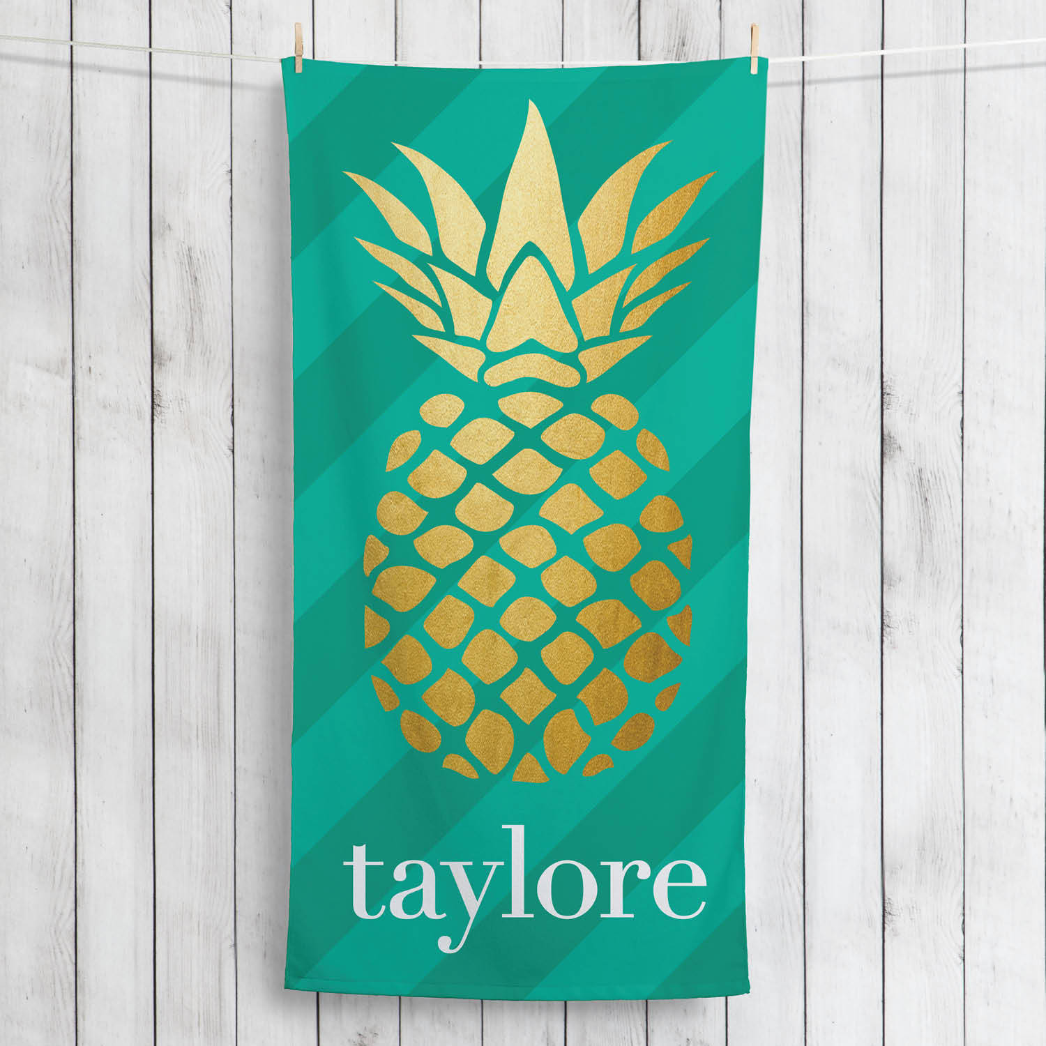 Golden Pineapple Personalized Summertime Beach Towel