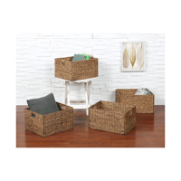 """eHemco Rectangular Hand-Woven Foldable Water Hyacinth Storage Baskets with Iron Wire Frame- Set of 4(Larger 16""""x13""""x10"""")"""