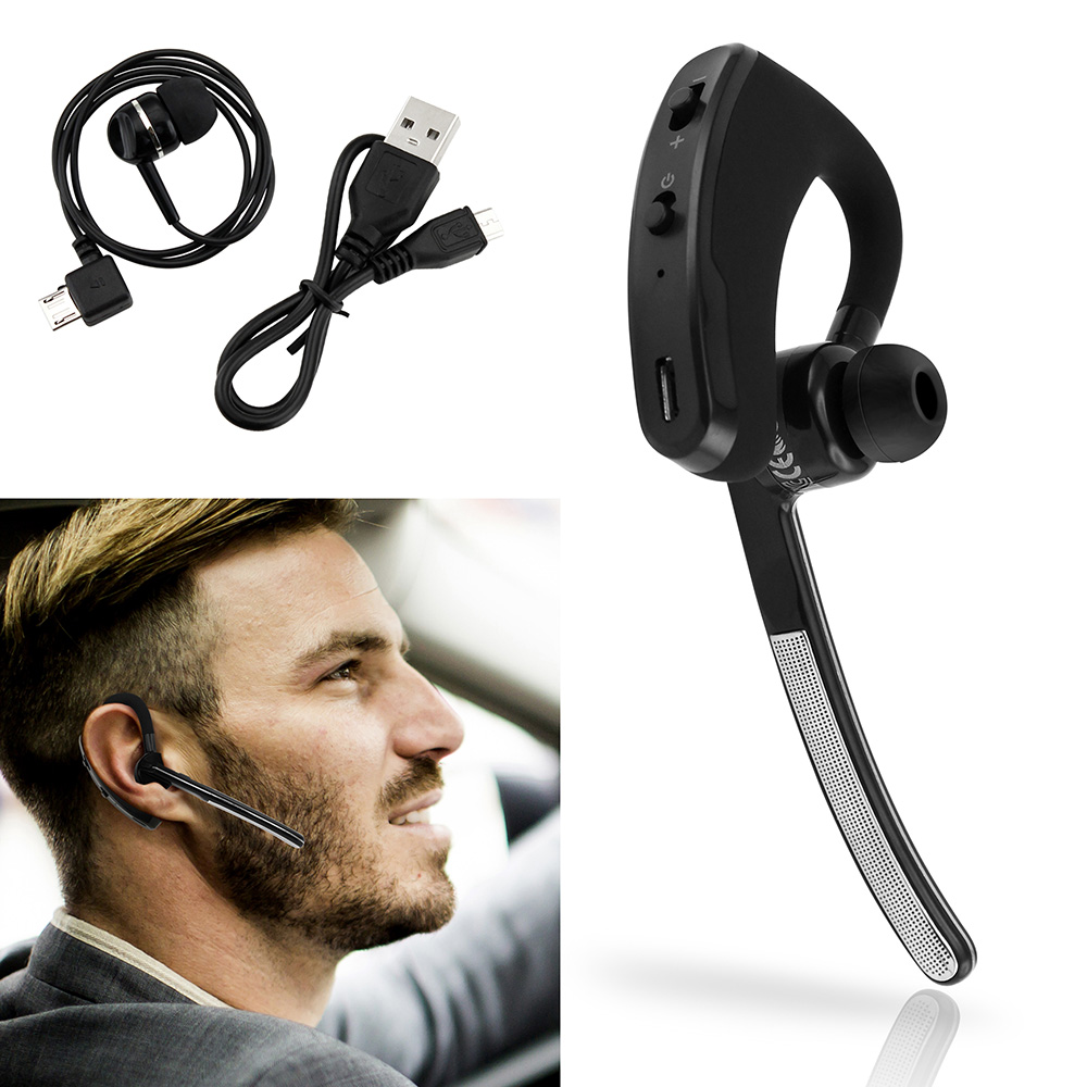 Bluetooth 4.0 Headset Wireless Earphone Universal Stereo Business Work Earpiece Handfree Earbuds with Microphone For Car Truck Driver Compatible for iPhone Samsung LG Cell Phones Tablet