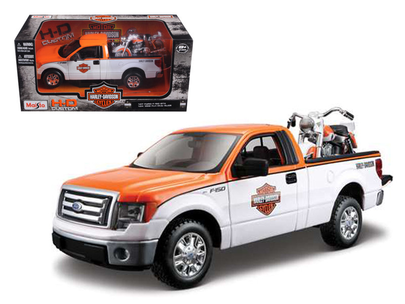 2010 Ford F-150 STX Harley Davidson Orange White 1 27 and 1 24 1958 FLH Duo Glide... by Maisto