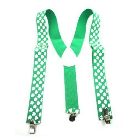 St. Patrick's Shamrocks Suspenders - One Size Fits Most - 12 Pack Case Pack 12 - Shamrock Suspenders