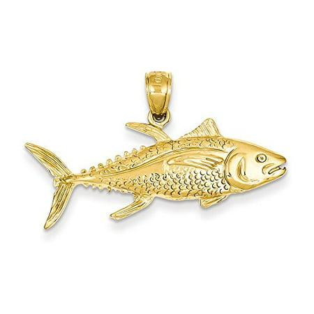 14K Yellow Gold Yellow fin Tuna Fish Charm Pendant