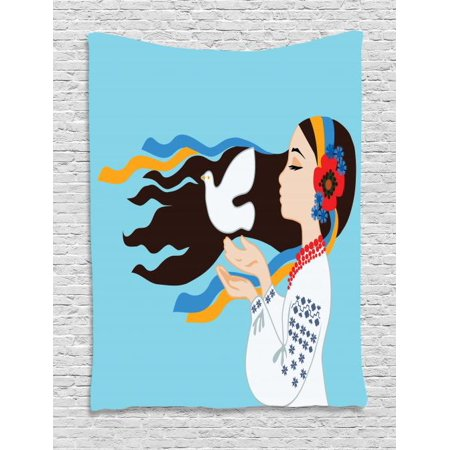 Dove Costume (Hippie Tapestry, The Girl Wearing Ukranian Ethnic Costume and Hairband Sends a Dove for World Peace, Wall Hanging for Bedroom Living Room Dorm Decor, 40W X 60L Inches, Multicolor, by)