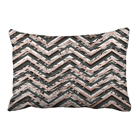 WinHome Modern Vintage Big Black And Marble Rose Gold Chevron Simple Zigzag Pattern Polyester 20 x 30 Inch Rectangle Throw Pillow Covers With Hidden Zipper Home Sofa Cushion Decorative